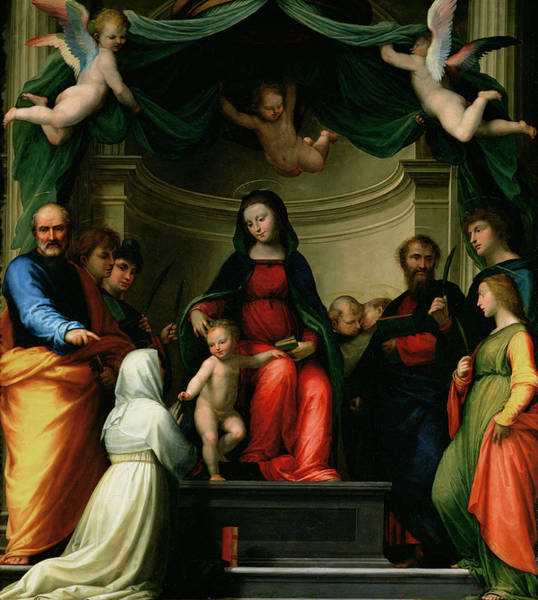 Marriage Painting - The Mystic Marriage Of St Catherine Of Siena With Saints by Fra Bartolommeo - Baccio della Porta