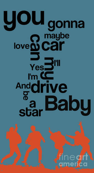 Baby Name Wall Art - Digital Art - The Name Of The Song. Beatles Lyrics. Drive My Car. by Drawspots Illustrations