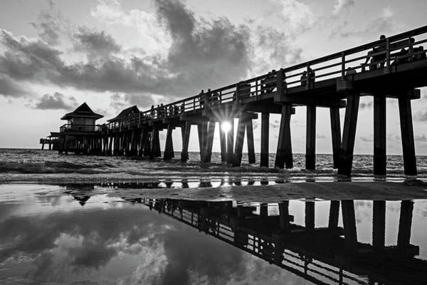 Fl Photograph - Naples Pier At Sunset Naples Florida Black And White by Toby McGuire