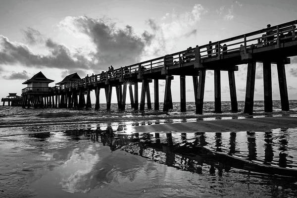 Photograph - Naples Pier At Sunset Naples Florida Ripples Black And White by Toby McGuire