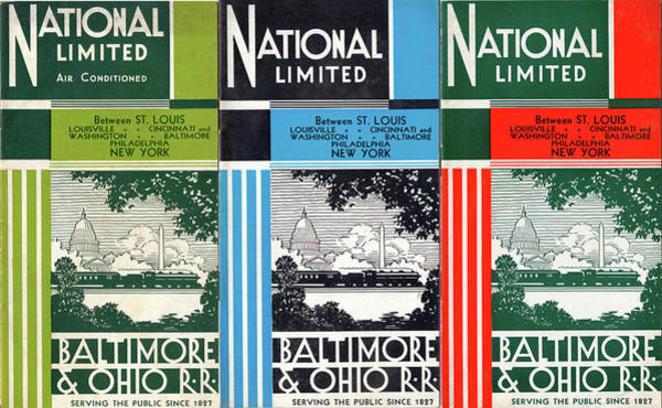 Drawing - The National Limited Collage by Baltimore and Ohio Railroad