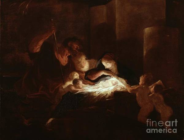 Putto Painting - The Nativity by Pierre Louis Cretey or Cretet