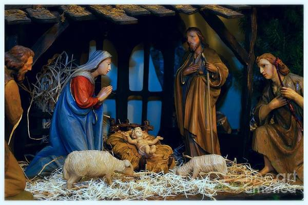Photograph - The Nativity Scene - Border by Frank J Casella