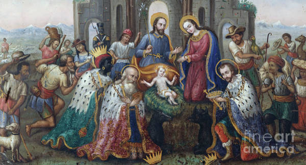 Wall Art - Painting - The Nativity With The Adoration Of The Magi And Shepherds, An Andean Landscape Beyond  by Peruvian School