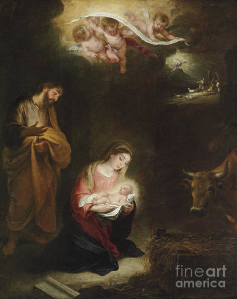 Infant Painting - The Nativity With The Annunciation To The Shepherds Beyond by Bartolome Esteban Murillo