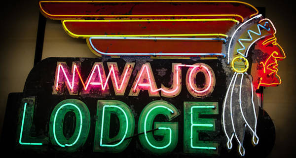 David Patterson Photograph - The Navajo Lodge Sign In Prescott Arizona by David Patterson