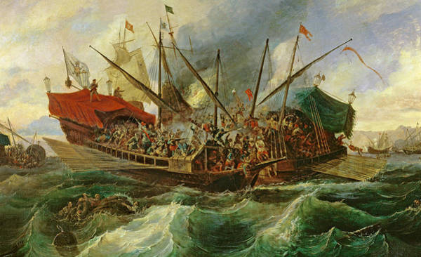 The Clash Wall Art - Painting - The Naval Battle Of Lepanto by Antonio de Brugada