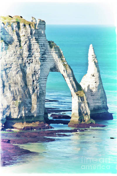 Normandy Painting - The Needle Of Etretat by Delphimages Photo Creations