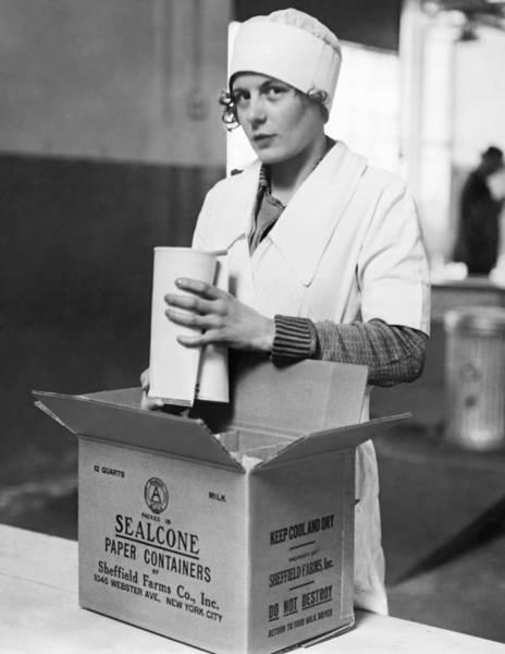 Milk Farm Photograph - The New Paper Milk Bottle by Underwood Archives