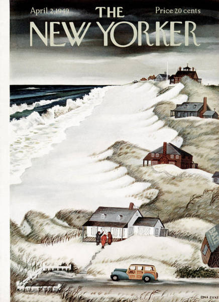 Summer Vacation Painting - New Yorker April 2nd, 1949 by Edna Eicke