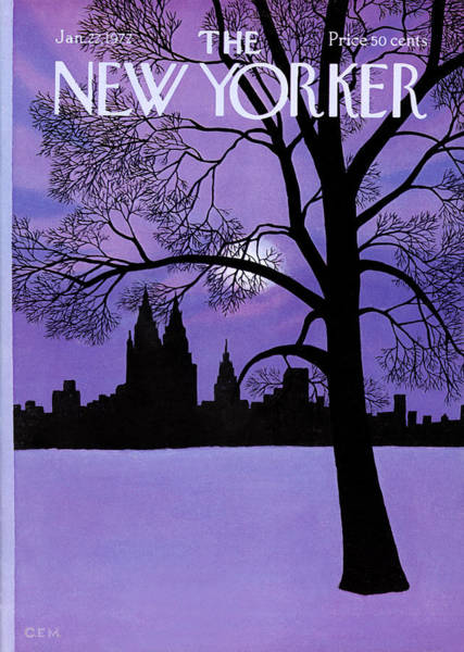 Skyline Painting - The New Yorker Cover - January 22nd, 1972 by Charles E Martin