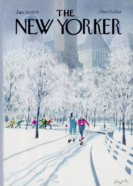 Snowing Painting - The New Yorker Cover - January 29th, 1979 by Charles Saxon