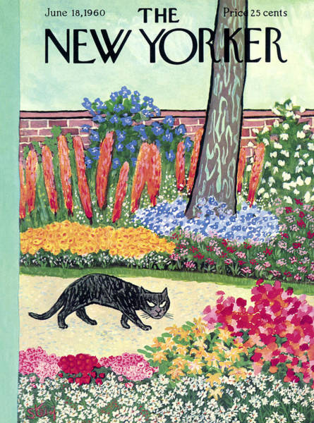 Plant Painting - New Yorker Cover - June 18, 1960 by William Steig