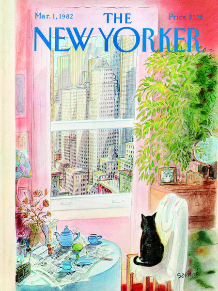 Service Painting - The New Yorker Cover - March 1, 1982 by Jean-Jacques Sempe