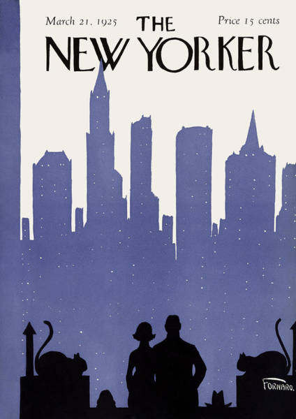 Night Painting - The New Yorker Cover - March 21st, 1925 by Carl Fornaro