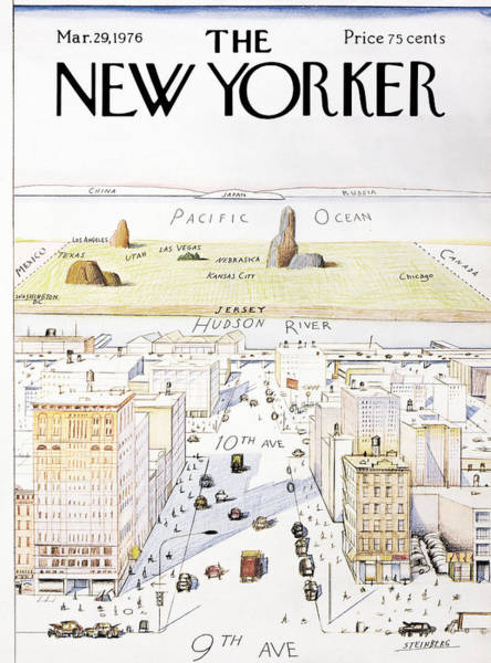 Skyline Painting - New Yorker March 29, 1976 by Saul Steinberg