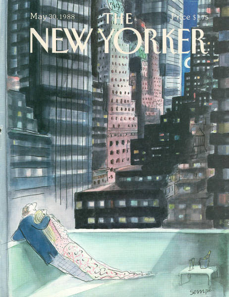 Night Painting - The New Yorker Cover - May 30th, 1988 by Jean-Jacques Sempe