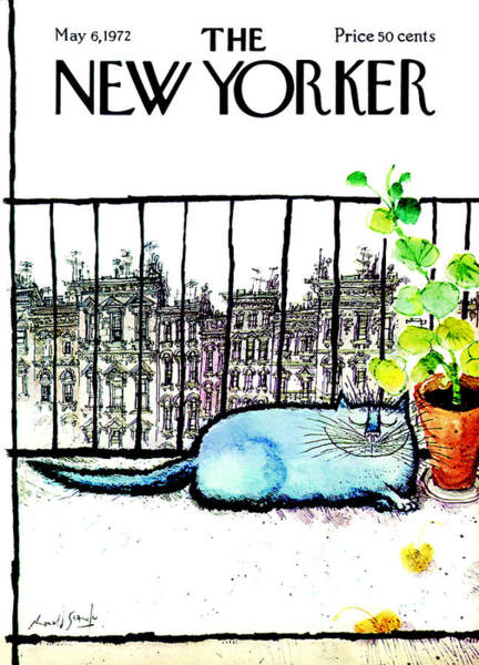 Plant Painting - The New Yorker Cover - May 6th, 1972 by Ronald Searle
