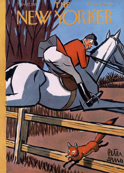 Race Horse Photograph - The New Yorker Cover - November 17, 1951 by Peter Arno