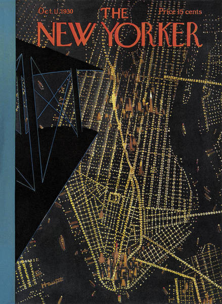 Night Painting - The New Yorker Cover - October 11th, 1930 by Theodore G Haupt
