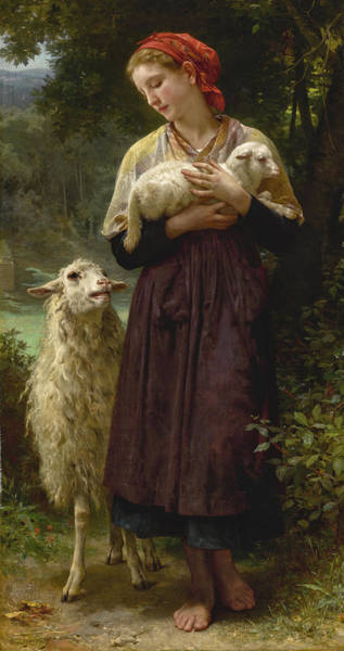 Wall Art - Painting - The Newborn Lamb by William-Adolphe Bouguereau