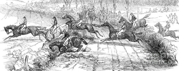 Wall Art - Drawing - The Newport Pagnel Steeple Chase by John Frederick Herring Snr