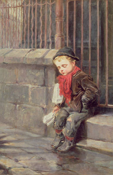 Newspaper Painting - The News Boy by Ralph Hedley