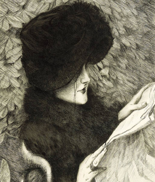 Fur Coat Drawing - The Newspaper by James Jacques Joseph Tissot