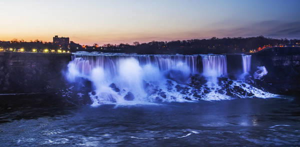 Photograph - The Niagara American Falls Just Before Dawn by Bill Cannon