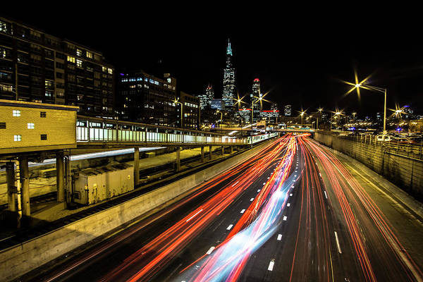Photograph - The Night Chicago Skyline By The Eisenhower Expressway  by Sven Brogren