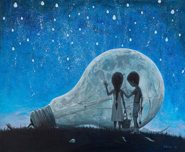 Wall Art - Painting - The Night We Broke The Moon by Adrian Borda
