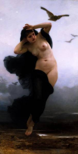Wall Art - Painting - The Night by William-Adolphe Bouguereau