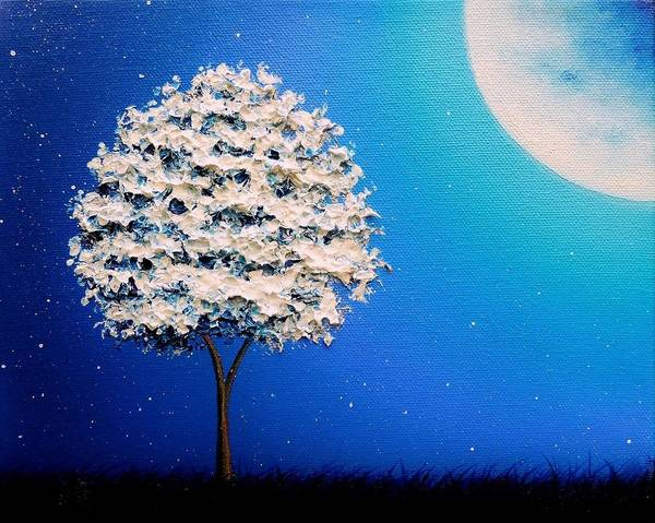Full Moon Painting - The Night's Convictions by Rachel Bingaman