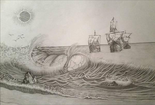 Pinta Drawing - The Nina, Pinta And Santa Maria by Roesch