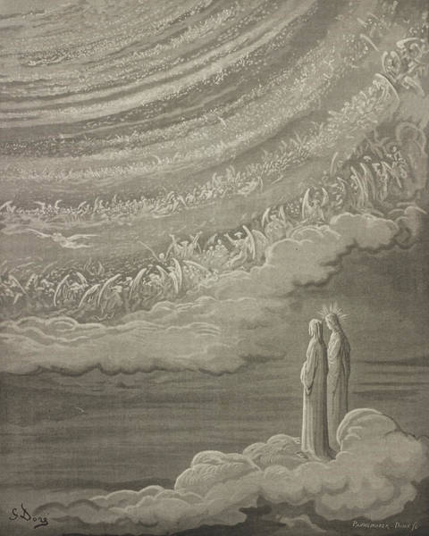 Wings Drawing - The Ninth Heaven by Gustave Dore