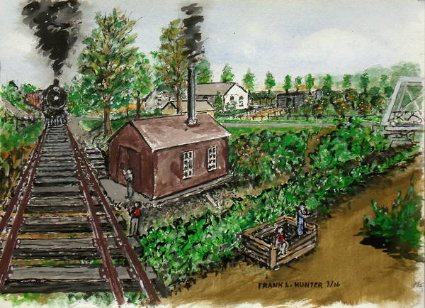 Painting - The Norfolk And Western Pumphouse At Sardinia Ohio by Frank Hunter