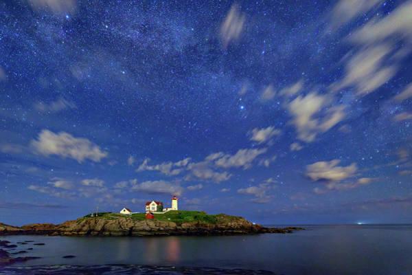 Photograph - The Nubble Under The Stars by Rick Berk