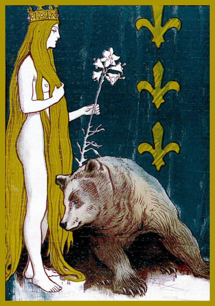 Painting - The Nude And The Bear Jugend Magazine Cover by Jugend Magazine