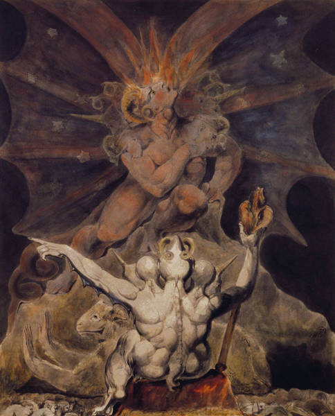 Satan Painting - The Number Of The Beast Is 666 by William Blake