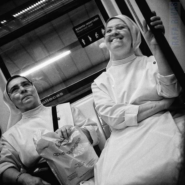 Religious Wall Art - Photograph - The Nun's Fun  #nun #people by Rafa Rivas