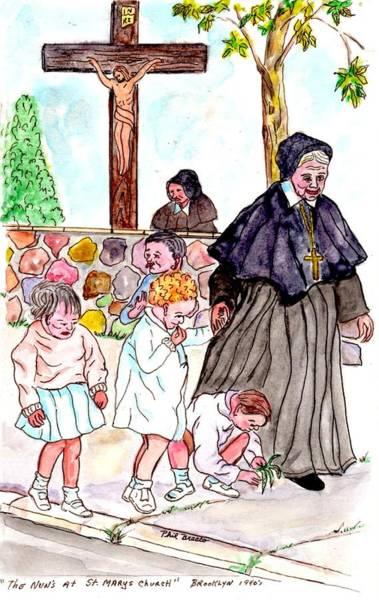 Mixed Media - The Nuns Of St Mary's Church by Philip Bracco