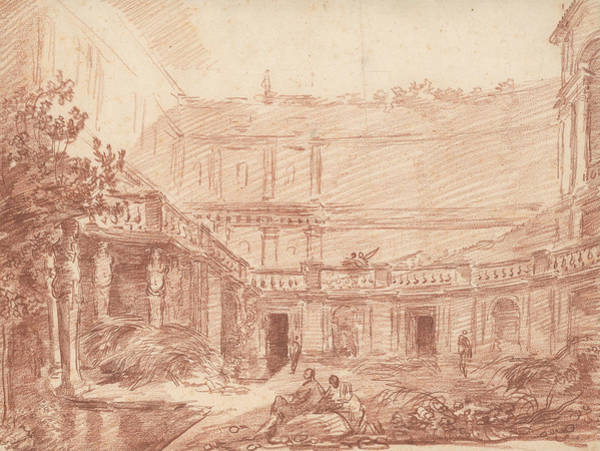 Villa Drawing - The Nymphaeum Of The Villa Di Papa Giulio, Rome by Hubert Robert