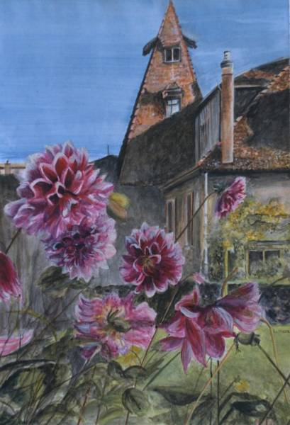Barley Painting - The Oast House And The Dahlias by Laurel Moore