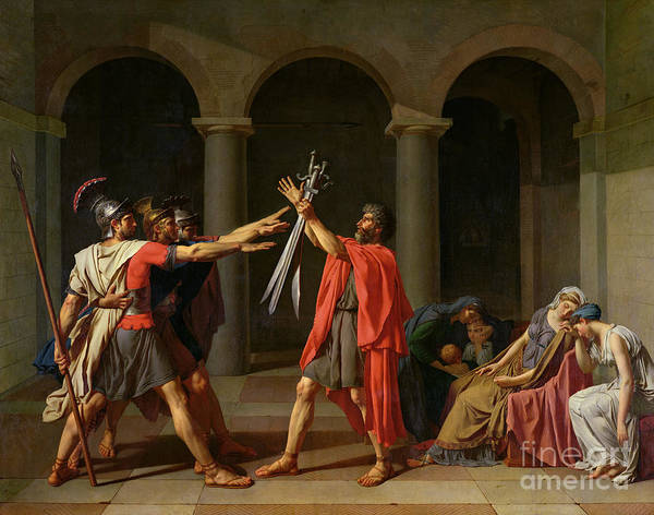 Sword Painting - The Oath Of Horatii by Jacques Louis David