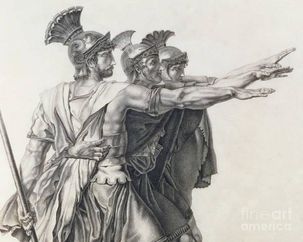 Armor Drawing - The Oath Of The Horatii, Detail Of The Horatii  by Jacques Louis David