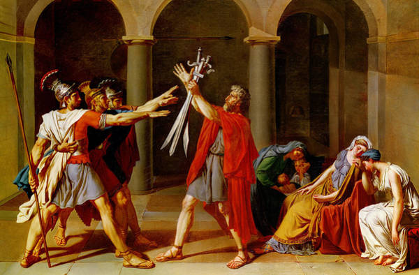 Historical Figure Painting - The Oath Of The Horatii by Jacques Louis David