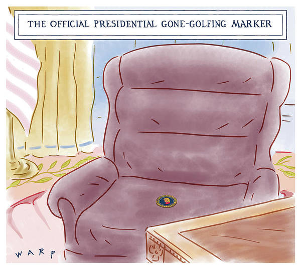 Officials Drawing - The Official Presidential Gone Golfing Marker by Kim Warp