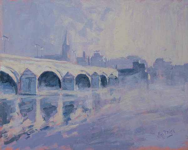 Wall Art - Painting - The Old Bridge In Morning Fog Maastricht by Nop Briex
