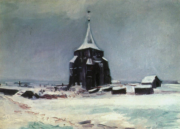 Church Yard Painting - The Old Cemetery Tower At Nuenen In The Snow, 1885 by Vincent Van Gogh