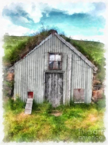 Painting - The Old Chicken Coop Iceland Turf Barn by Edward Fielding